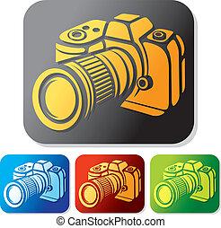 set, icona, macchina fotografica