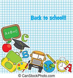 set, icona, scuola, educazione