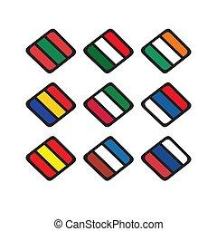 set, icona, simbolo, vettore, zebrato, paese, disegno, logotipo, 3, bandiera, illustrazioni