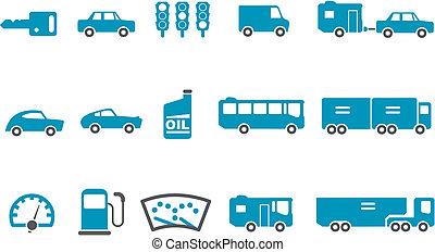 set, icona, trasporto