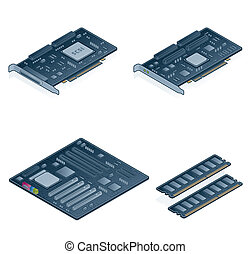 set, icone, -, 55n, hardware, computer, disegni elementi