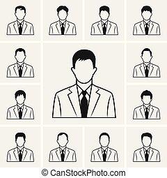 set, icone affari, vettore, linea, uomo, fuori