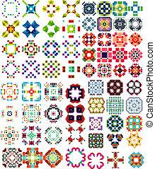 set, icone, astratto, /, forme, geometrico