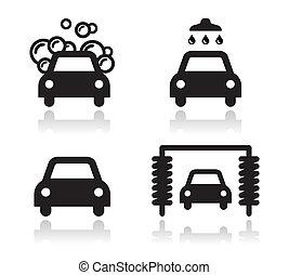 set, icone, automobile, -, lavare, vettore
