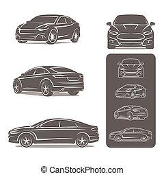 set, icone, automobile, moderno, vettore, bussola