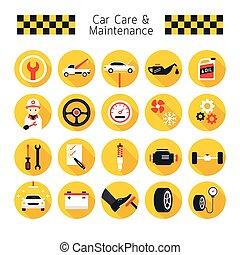 set, icone, automobile, oggetti, manutenzione, cura