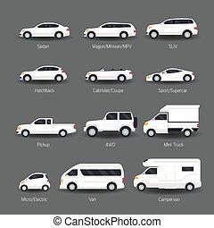 set, icone, automobile, oggetti, modello, tipo