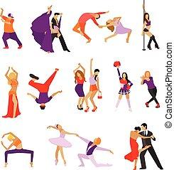 set, icone, ballo, persone., ballo, isolato, vettore, disegno, fondo, bianco, elementi