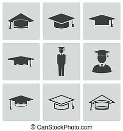 set, icone, berretto, accademico, vettore, nero
