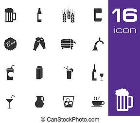 set, icone, birra, vettore, sfondo nero, bianco, bevanda