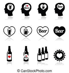 set, icone, birra, vettore, uomo, amare