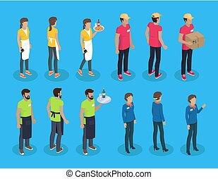 set, icone, cameriere, illustrazione, vettore, cameriera