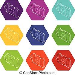 set, icone, canapa, vettore, tempo, 9, 420, fumo