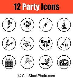 set, icone, celebrazione