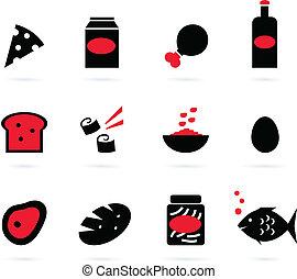 set, icone, cibo, (, isolato, ), retro, nero, bianco rosso