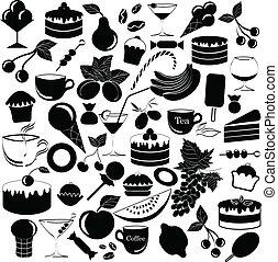 set, icone, cibo, -, isolato, vettore, nero, bianco