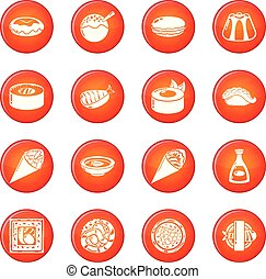 set, icone, cibo, vettore, giappone, rosso