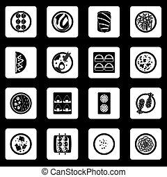 set, icone, cibo, vettore, giappone, squadre