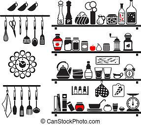 set, icone, cibo, vettore, nero, bibite