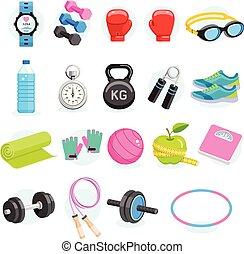 set, icone, color., apparecchiatura, vettore, esercizi, illustrations.