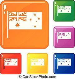 set, icone, colorare, bandiera, vettore, australiano