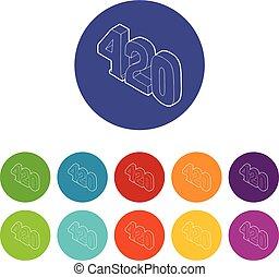 set, icone, colorare, canapa, vettore, tempo, 420, fumo