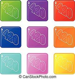 set, icone, colorare, collezione, canapa, tempo, 9, 420, ...