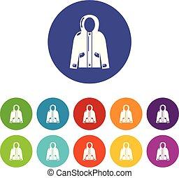 set, icone, colorare, giacca, vettore, incappucciato