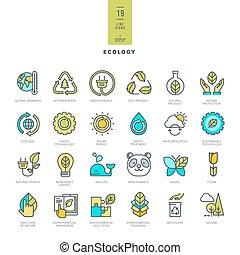 set, icone, colorare, moderno, linea sottile