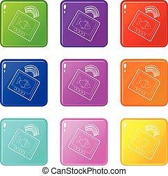 set, icone, colorare, sounder, collezione, eco, 9
