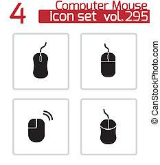 set, icone computer, vettore, mouse nero