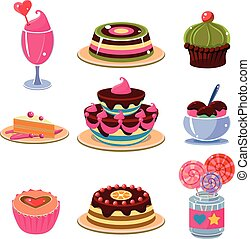 set, icone, dessert, illustrazione, luminoso, vettore