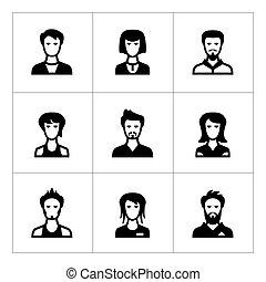 set, icone, di, persone