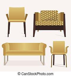 set, icone, divano, moderno, braccio sedia