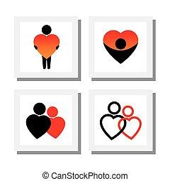 set, icone, empatia, amore, persone, -, compassione,...
