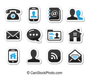 set, icone, etichette, -, contatto, mobil
