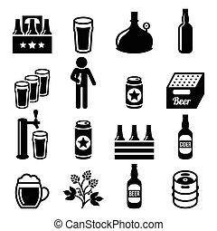 set, icone, fabbrica birra, birra, pub, vettore