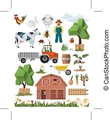 set, icone, fattoria, poly, vettore, basso