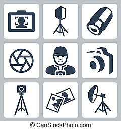 set, icone, fotografo, apparecchiatura, vettore, foto
