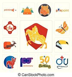 set, icone, fuoco, bulldog, 50th, francese, tucano, 100th, compleanno, anniversario, stazione, dott., cavaliere, monarca, antilope, farfalla, cavallo