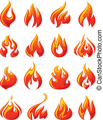 set, icone, fuoco, fiamme, rosso, 3d