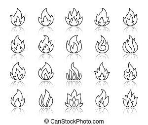 set, icone, fuoco, semplice, vettore, nero, linea
