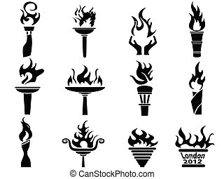 set, icone, fuoco, torcia, fiamma, nero