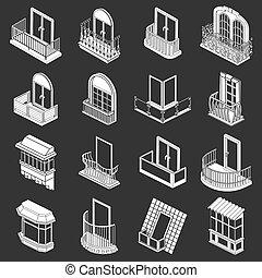set, icone, grigio, forme, finestra, balcone
