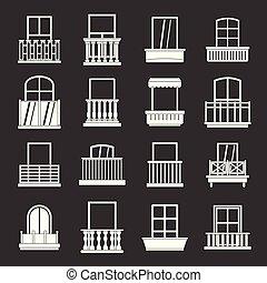 set, icone, grigio, forme, finestra, vettore