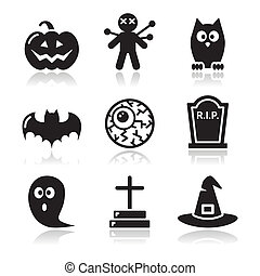 set, icone, halloween, -, nero, zucca
