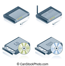 set, icone, -, hardware, computer, disegni elementi, 55b