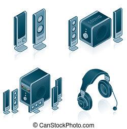 set, icone, -, hardware, computer, disegno, 57c, elementi