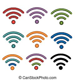 set, icone, illustrazione riserva, wifi