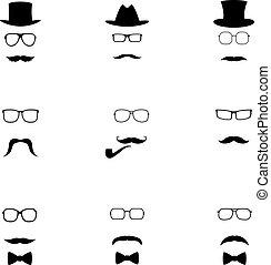 set, icone, illustrazione, vettore, hipster, nero